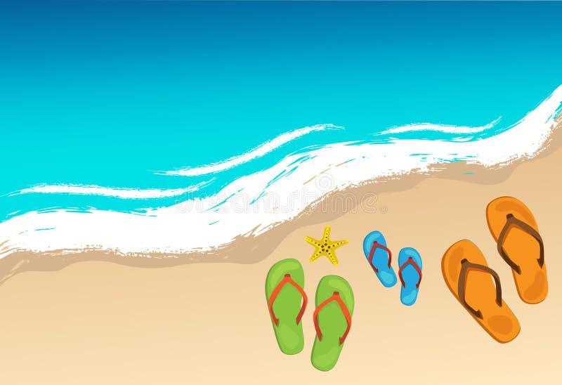 De zomerschoenen en zeester op strand, vector vector illustratie