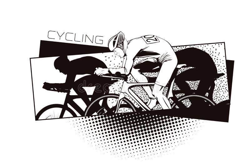 De zomersoorten sporten cycling stock illustratie