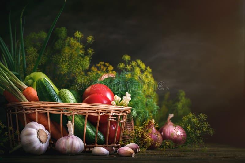 De zomerstilleven van rijpe groenten en dille royalty-vrije stock foto