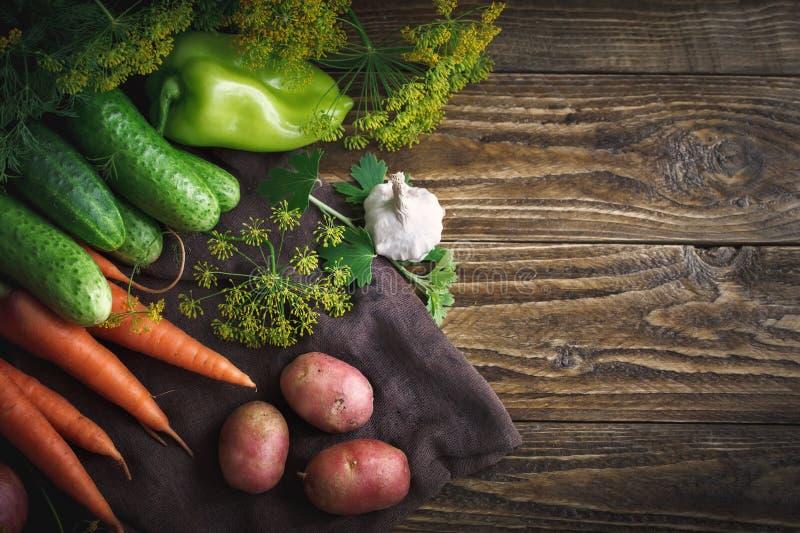 De zomerstilleven van rijpe groenten en dille stock foto's