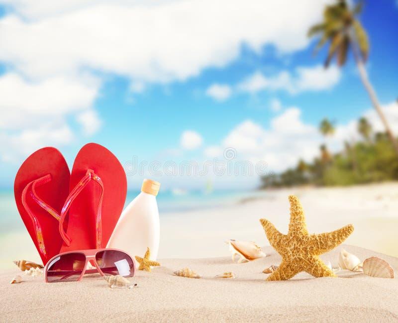 De zomerstrand met rode sandals en shells royalty-vrije stock foto