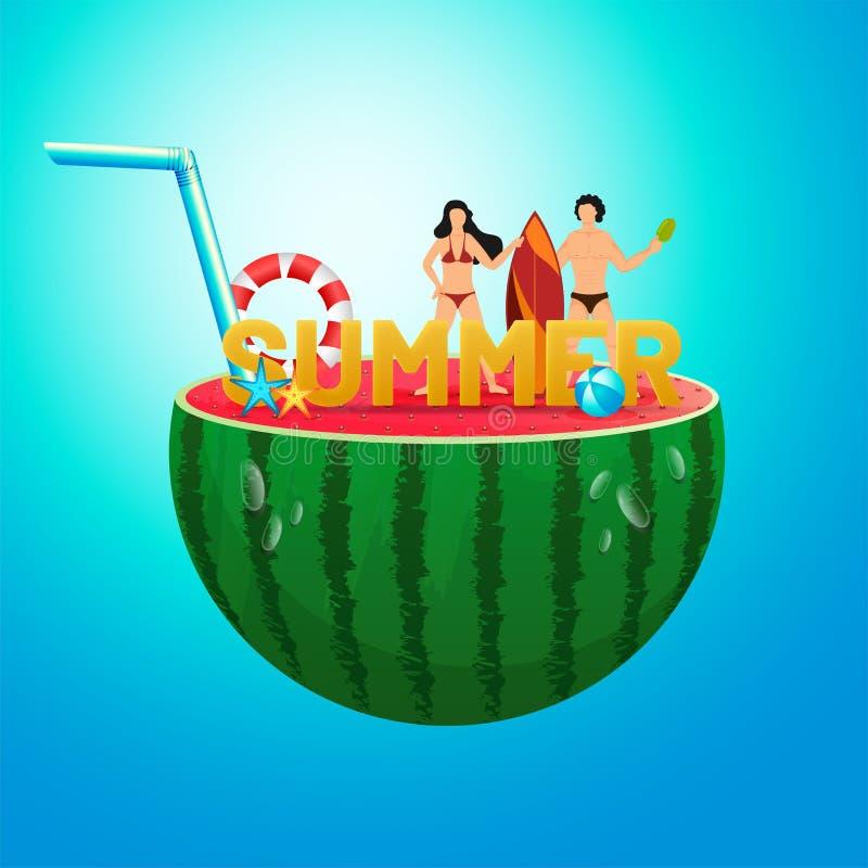De zomertekst met van het surferpaar en strand elementen op halve watermeloen met glanzende blauwe achtergrond Kan als affiche of royalty-vrije illustratie
