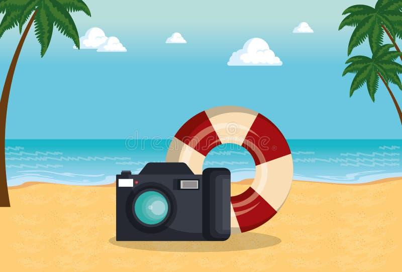 De zomertijd met camera en vlotter royalty-vrije illustratie