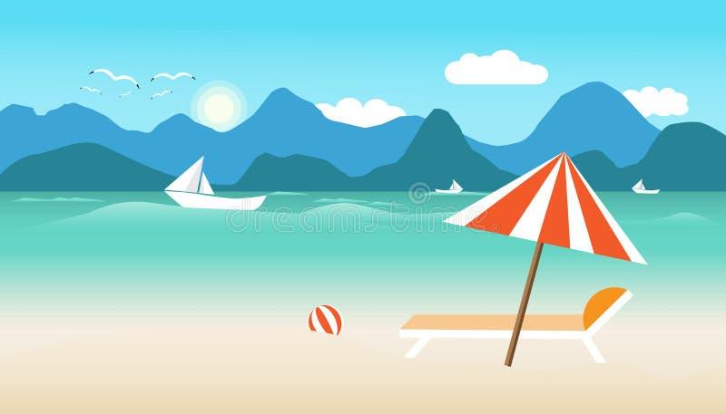 De zomertijd met de stoel van de paraplubal op strand de boot in overzeese en zonvogel vliegt helder over blauwe de bergachtergro royalty-vrije illustratie