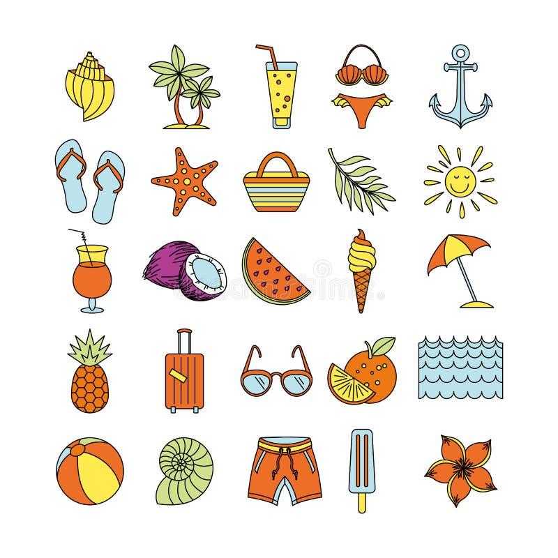 De zomertijd in strand overzeese kust met voorwerpen Vector illustratie E Kleurenschets stock illustratie