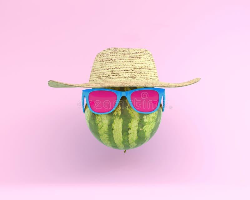 De zomertijden van grappige aantrekkelijke watermeloen in modieuze sunglasse royalty-vrije stock foto's