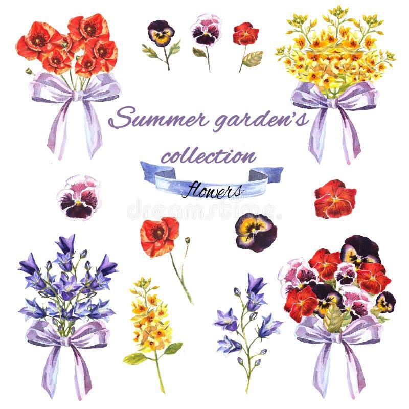 De zomertuin met bloemen en boeketten wordt geplaatst dat stock afbeeldingen