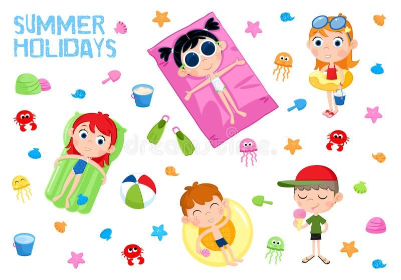 De zomervakantie - Aanbiddelijke geplaatste sticker - Jonge geitjes en van de strandpartij elementen royalty-vrije illustratie