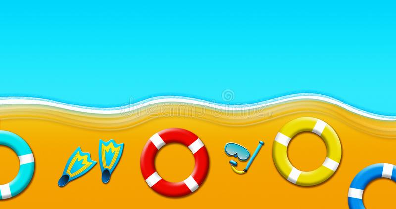 De zomervakantie bij Tropische Sandy Beach With Scuba Mask, Vinnen, Veiligheidsringen en Zeesterillustratie royalty-vrije illustratie