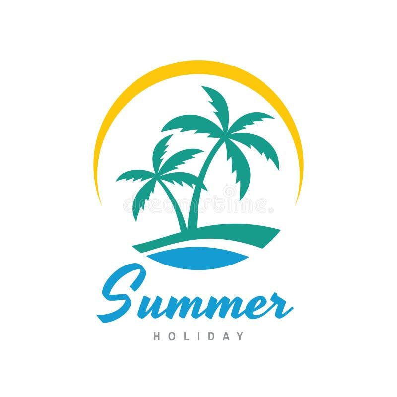 De zomervakantie - concepten bedrijfsembleem vectorillustratie in vlakke stijl Tropisch paradijs creatief embleem Palmen, eiland, stock illustratie