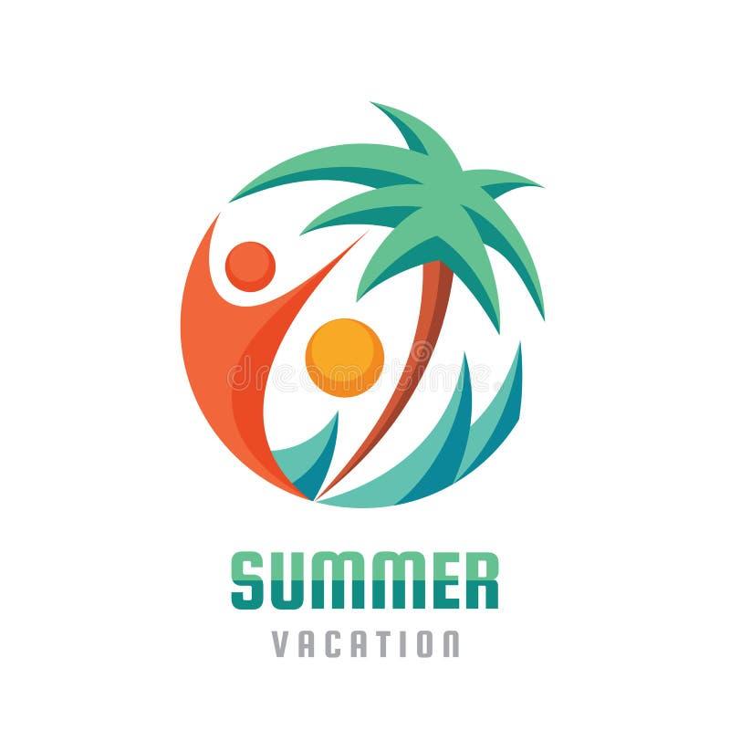 De zomervakantie - de creatieve illustratie van het embleemmalplaatje Abstracte palm, menselijk karakter, overzeese golven en zon vector illustratie