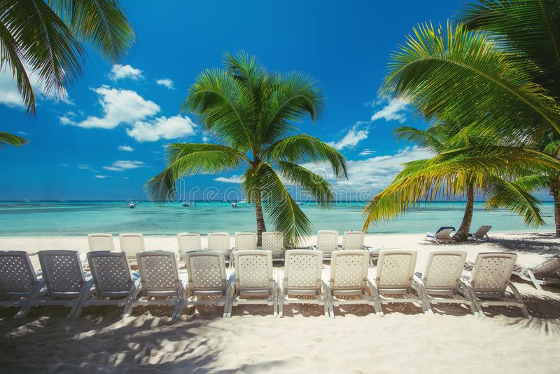 De zomervakantie en exotische vakantie op Saona-eiland Overzeese stoelen op tropisch strand, palmen en wit zand Reislandschap stock foto