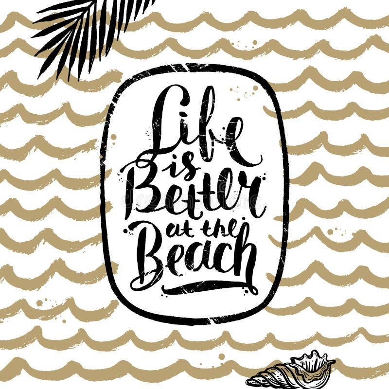 De zomervakantie en vakantiehand getrokken illustratie vector illustratie