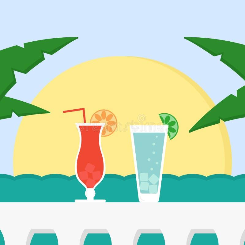De zomervakantie met cocktails, zon en overzees royalty-vrije illustratie
