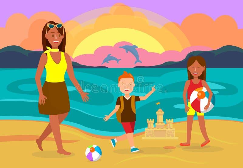 De zomervakantie met Familie Vectorillustratie royalty-vrije illustratie