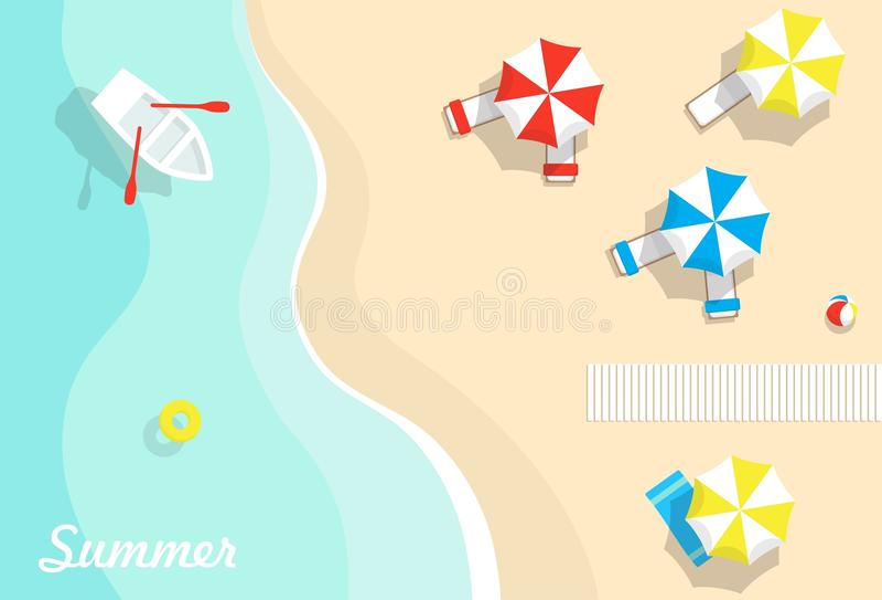 De zomervakantie op de overzeese achtergrond vector illustratie