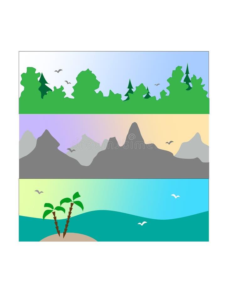 De zomervakantie op de kust, in de bergen stock illustratie