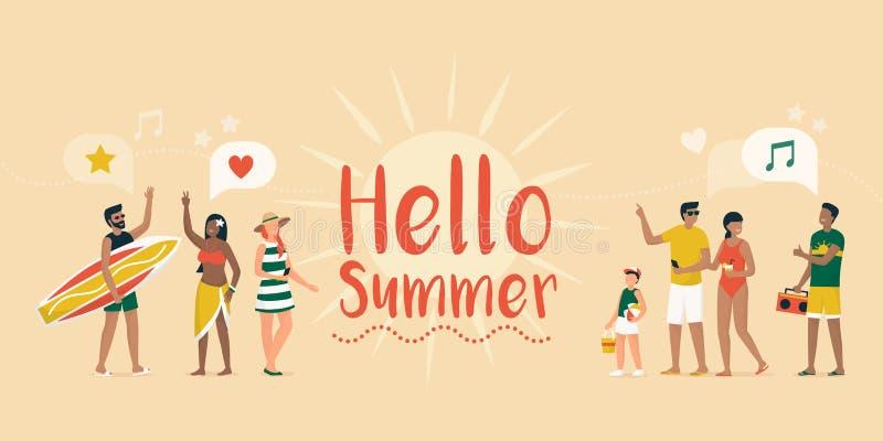 De zomervakanties op het Strand vector illustratie
