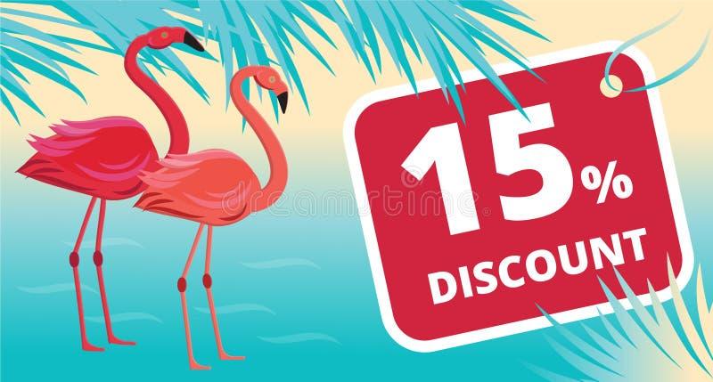 De zomerverkoop, kortingsbanner met flamingo, tropische bladeren en overzeese achtergrond stock illustratie