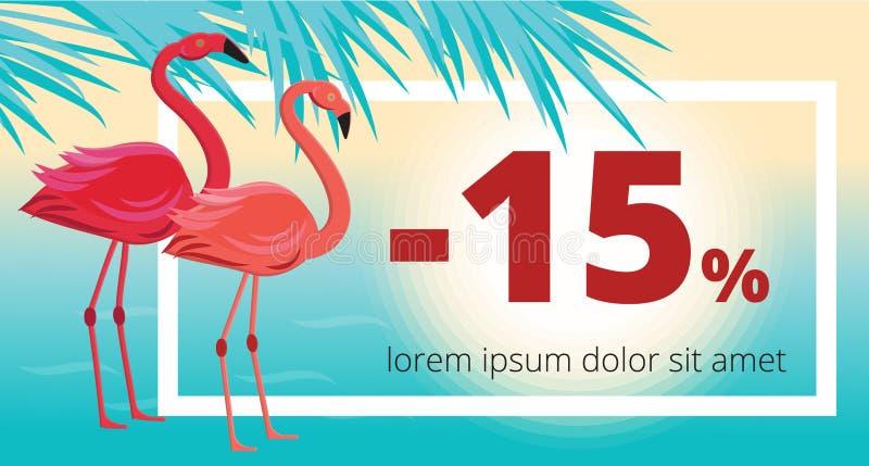 De zomerverkoop, kortingsbanner met flamingo, tropische bladeren en overzeese achtergrond royalty-vrije illustratie