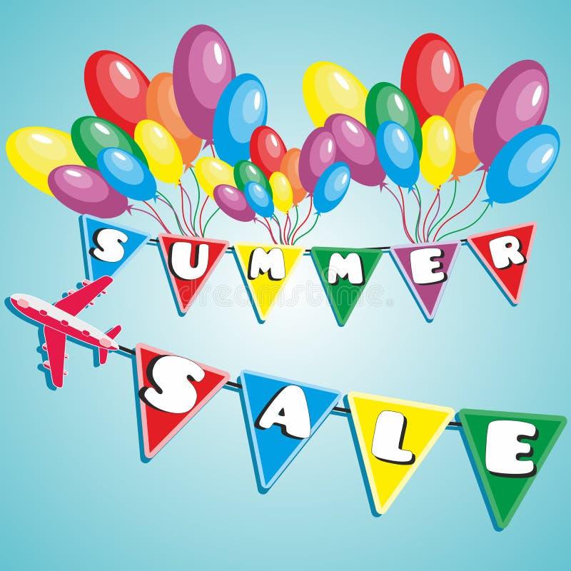 De zomerverkoop met ballons en vliegtuig royalty-vrije stock afbeeldingen