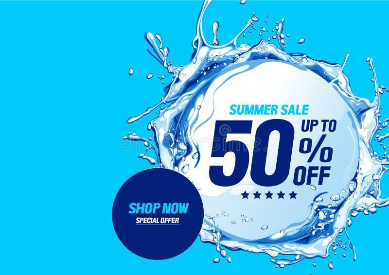 De zomerverkoop met de cirkel van watergolven vector illustratie