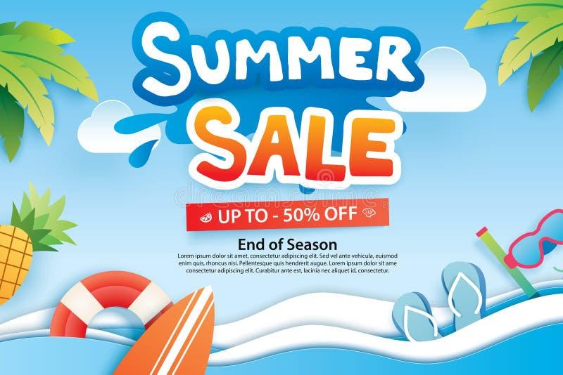 De zomerverkoop met document besnoeiingssymbool en pictogram voor de reclame van strand royalty-vrije illustratie