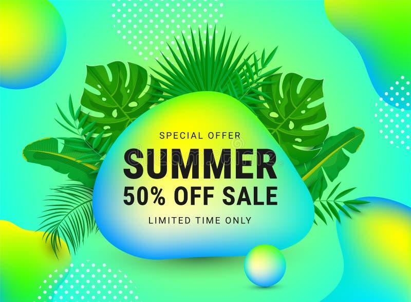 De zomerverkoop 50 percenten weg stock illustratie
