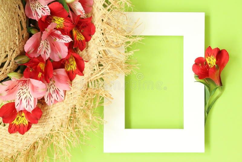 De de zomervlakte legt modelkader met de verfraaide tropische bloemen van de strohoed stock afbeeldingen