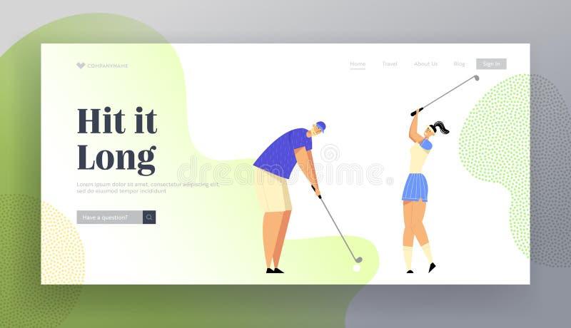 De zomervrije tijd, Luxerecreatie die, Golfing-Websitelandingspagina, Mensen Golf op Cursus spelen, die Bal raken aan Gat stock illustratie