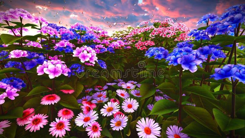 De zomerwildflowers bij weide het 3d teruggeven royalty-vrije stock foto's