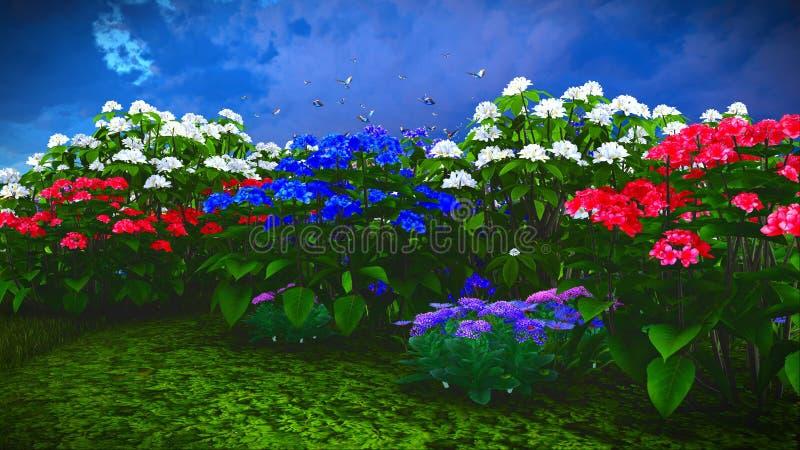 De zomerwildflowers bij weide het 3d teruggeven stock fotografie