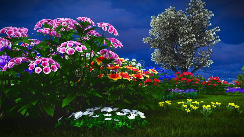 De zomerwildflowers bij weide het 3d teruggeven stock foto's