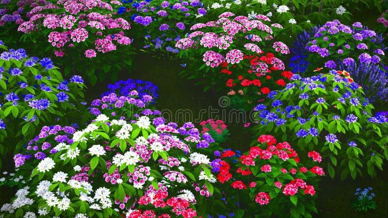 De zomerwildflowers bij weide het 3d teruggeven royalty-vrije stock fotografie