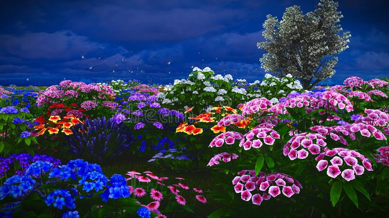 De zomerwildflowers bij weide het 3d teruggeven royalty-vrije stock afbeeldingen