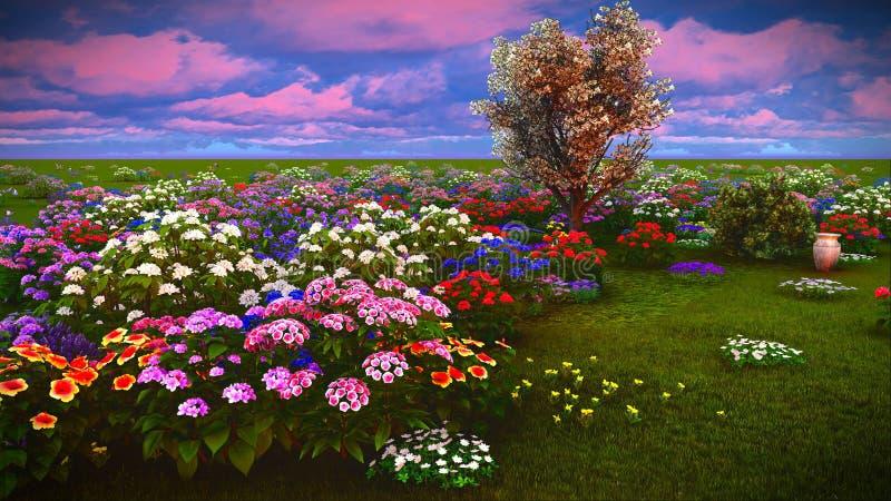 De zomerwildflowers bij weide het 3d teruggeven stock afbeelding