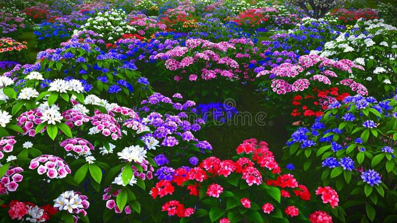 De zomerwildflowers bij weide het 3d teruggeven royalty-vrije stock afbeelding