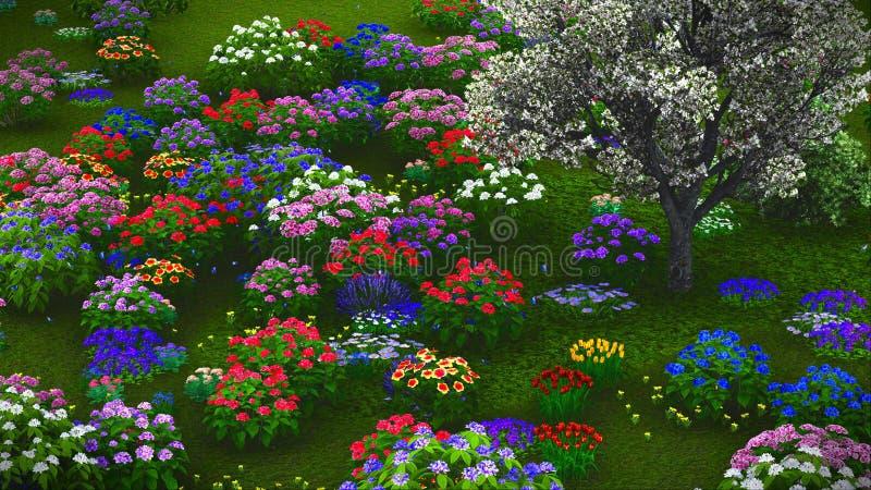 De zomerwildflowers bij weide het 3d teruggeven royalty-vrije stock foto