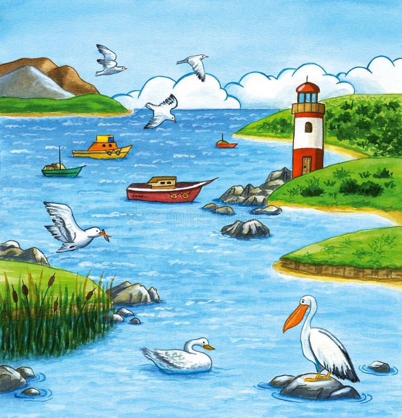 De zomerzeegezicht met vuurtoren en het mariene leven stock illustratie