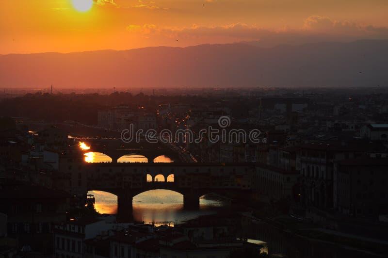 De zomerzonsondergang in Florence Italy royalty-vrije stock fotografie