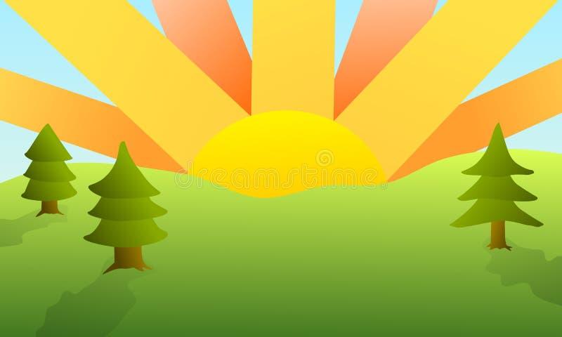 De zomerzonsondergang - landschap stock afbeeldingen