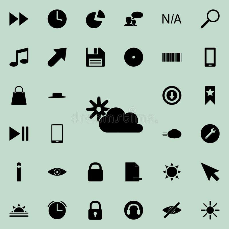 de zon achter het wolkenpictogram Gedetailleerde reeks minimalistic pictogrammen Premie grafisch ontwerp Één van de inzamelingspi stock illustratie