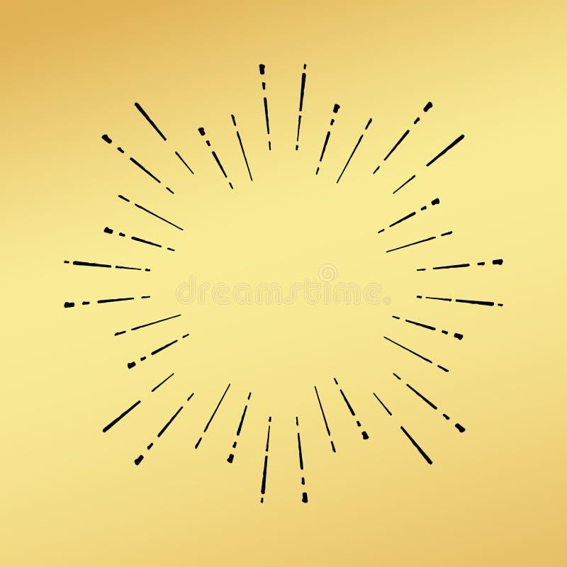 De zon barstte uitstekende hand de getrokken hipster gouden embleemstraal explodeert vector illustratie