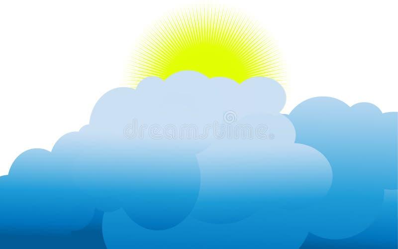 De zon die boven de wolken toenemen stock illustratie
