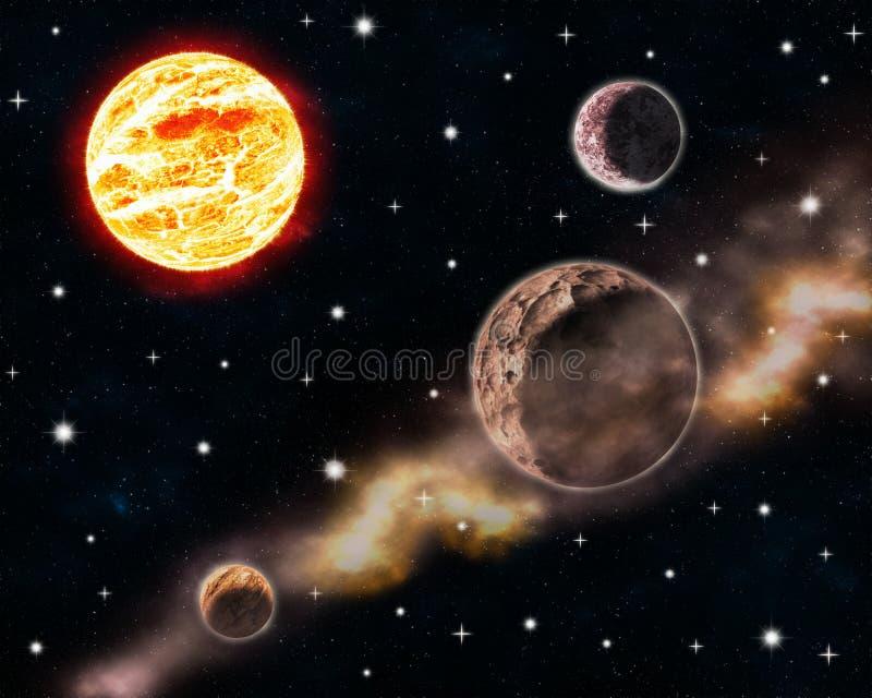 De zon en de planeten in diepe ruimtescène met gloeiende sterren en nevel betrekken het hemelontwerp illustratie van de achtergro stock illustratie