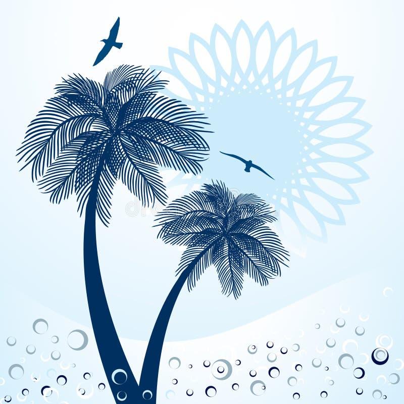 De Zon en de Zeemeeuwen van palmen   vector illustratie