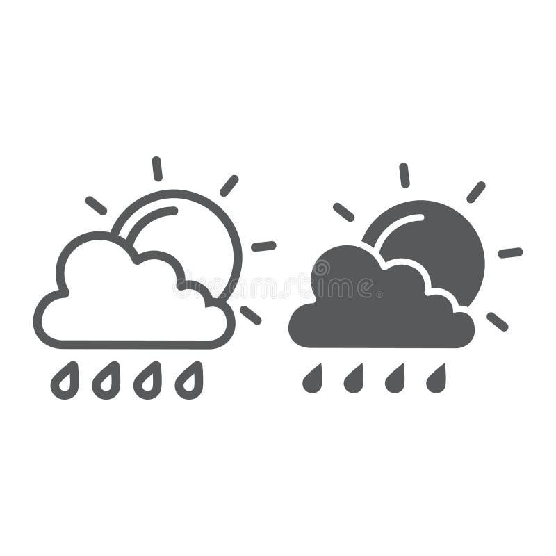 De zon en het de regenlijn en glyph pictogram, het weer en de voorspelling, de wolk en de zon ondertekenen, vectorafbeeldingen, e stock illustratie
