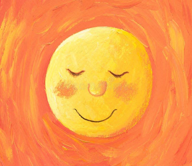 De zon gaat naar slaap royalty-vrije illustratie