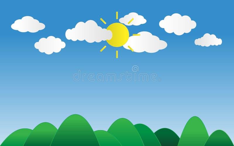 de zon glanst op blauwe hemel met wolken boven groene bergen met SP royalty-vrije illustratie