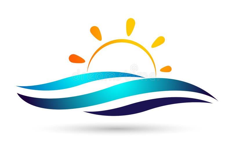 De zon het vastgestelde van het overzeese van de watergolf van het het embleemmalplaatje golven Oceaanstrand van de het waterdali stock illustratie